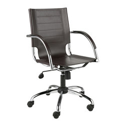 Eurostyle - Dave Office Chair-Brown - This remarkable chair embraces an airy design, yet still conveys sturdy support. You get a seating area that almost hovers over the base, plus the backrest features side cutouts, also providing supple comfort and appeal.