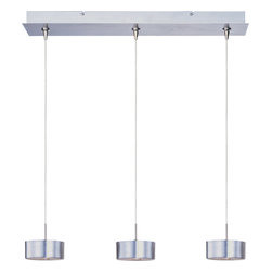ET2 Lighting - Percussion 3-Light Linear Pendant - Let these drum pendants get the drop on your favorite space. The brushed aluminum finish shows the softer side of your modern style.