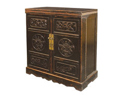 Marco Polo Imports - Lhasa Wine Cabinet Bar, Crackle Black - Representing the best of Asian antique reproductions, the Lhasa Wine Cabinet Bar preserves venerable patterns and exotic frames that have been adapted into a  multi-functional accent item for today's household needs. Hand-painted and distressed, the bar  is constructed using woods reclaimed from demolished buildings, married with traditional Chinese joinery. Crackled painted finishes and layers of lacquer impart an authentically aged feel. The marble inlay top conveniently opens and the doors swing open to transform the cabinet into a lovely bar. Castors allow for easy movement of the piece. Available in Crackle Black or Crackle Turquoise finish.