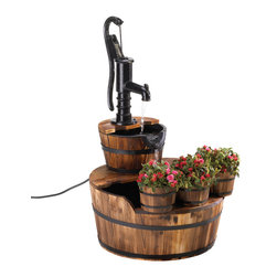 KOOLEKOO - Outdoor Pump And Barrel Water Fountain - This vintage-inspired fountain and planter trio is an ode to simpler times. The soothing sound of cascading water falls from the well pump into wooden barrels, and when you add a splash of greenery in the front-mounted planter trio, youll have a peaceful oasis of a bygone era in your yard!
