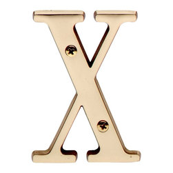 """Renovators Supply - House Numbers Solid Brass 3"""" House Letter X - Made of solid brass, these polished die cast letters are made to withstand the elements. Our RSF protective finish process ensures they stay looking like new. Use them to update your home's exterior!"""