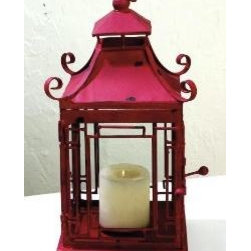 Distressed Red Pagoda Lantern by The Well Appointed House - This red pagoda lantern would add great Chinoiserie style to a covered patio