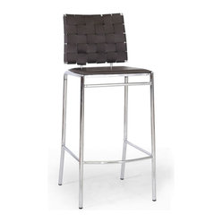 Baxton Studio - Baxton Studio Vittoria Brown Leather Modern Bar Stool (Set of 2) - Add stylish seating to your kitchen at home or use our Vittoria Modern Bar Stool as the perfect leather bar furniture or restaurant bar stool. Durable brown bonded leather on the seat is smooth and is accented with contrasting cream stitching. Conversely, the leather on the backrest is intricately woven.  Light foam padding adds additional comfort. The dependable steel frame is beautifully finished with high-shine chrome plating and tipped with non-marking feet.  The Vittoria Stool is fully assembled and is made in China.  To clean, wipe with a damp cloth.  Also available (sold separately) are matching counter height stools and each is also offered in black leather.  Dimensions: 16.25 inches wide x 15.25inches deepx 40.75 inches height, seat height: 29.875 inches