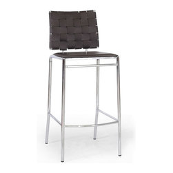 Baxton Studio - Baxton Studio Vittoria Brown Leather Modern Bar Stool (Set of 2) - Add stylish seating to your kitchen at home or use our Vittoria Modern Bar Stool as the perfect leather bar furniture or restaurant bar stool. Durable brown bonded leather on the seat is smooth and is accented with contrasting cream stitching. Conversely, the leather on the backrest is intricately woven. Light foam padding adds additional comfort. The dependable steel frame is beautifully finished with high-shine chrome plating and tipped with non-marking feet. The Vittoria Stool is fully assembled and is made in China. To clean, wipe with a damp cloth. also available (sold separately) are matching counter height stools and each is also offered in black leather.