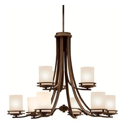 """KICHLER - KICHLER 1674OZ Hendrik Transitional Chandelier - Named after renowned Dutch architect, Hendrik Berlage, the Hendrik Collection is a gorgeous family of contemporary fixtures that honor the man who was regarded by many as the """"Father of Modern architecture"""". Much like Berlage himself, The Hendrik Collection is regarded as an intermediary between modern and traditional styles. Classic lines are enhanced with a soft touch of current style cues to work in a number of aesthetic environments. The warm hue of our Olde Bronze finish is partnered with light umber etched glass for a fantastic balance of natural color. The 9-light, 2-tiered Hendrik Chandelier uses 100-watt (max.) bulbs."""