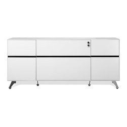 Jesper - Jesper - 400 Collection - Storage Credenza - White - This geometrically scaled Collection makes a bold statement with strong horizontals, versatile shapes, and a sleek modern profile. Elegant detailing in the way components meet and materials blend gives this Collection its refined appearance. Perfect for the home or office, the variable return cabinets are available in different configurations giving your modern working space a fresh look at simple flexibility.