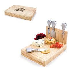 Picnic Time - Washington Redskins Asiago Folding Cutting Board With Tools in Natural Wood - The Asiago is a folding cutting board with tools that is another Picnic Time original design. This compact, fully-contained split-level cutting board is made of eco-friendly rubberwood. Lift up the top level of the board to reveal four brushed stainless steel cheese tools: a pointed-tipped cheese knife, cheese fork, cheese chisel knife, and blunt nosed hard cheese knife. The tools are magnetically secured to a wooden strip that lifts up so you can close the cutting board and display the tools. Designed with convenience in mind, the Asiago is great for home or anywhere the party takes you.; Decoration: Engraved; Includes: 4 brushed stainless steel cheese tools (1 pointed-tipped hard cheese knife, cheese fork, cheese chisel knife, and blunt nosed soft cheese knife