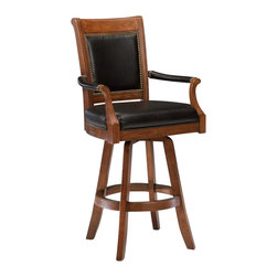 Hillsdale - Hillsdale Kingston Game Swivel Leather Back Bar Stool - 6004-831 - Romantic details and elegant lines define the Hepburn Stool. Constructed of a dark wood and resembling traditional arm chairs, the Hepburn brings a sense of vintage sophistication to any space. The 360 degree swivel stool is covering a glossy, dark brown vinyl, and is available in bar and counter heights. Some assembly required.