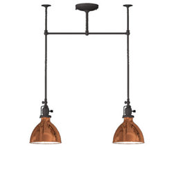 Grandview 2-Light Chandelier, Copper Dome Shade - Embrace the schoolhouse look with this industrial masterpiece. Choose from two or three pendants, both with a single connection.