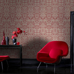 Graham & Brown - Manor House Wallpaper - A floral damask brought to you by Laurence Llewelyn-Bowen, an influential high class designer with a commercial edge. This red wallpaper is paste the wall so it hangs in half the time of normal decorating.