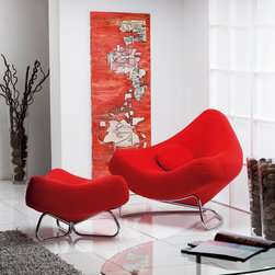 Chili Armchair with Pouf by ROM, Belgium - DESIGN By Paul Falkenberg. Available in a variety of fabrics.