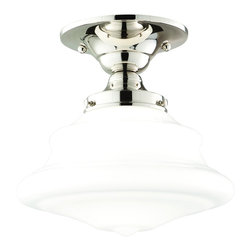 """Hudson Valley - Hudson Valley Petersburg Nickel Semi-Flush Ceiling Light - Wonderful curves and glossy surfaces define this semi-flushmount ceiling fixture. Its classic design will complement any number of home decor styles. Glistening polished nickel finish graces the shapely metal base while a glossy opal glass shade will produce a beautiful clean light. From Hudson Valley Lighting. Polished nickel finish. Opal glass shade. Takes one 75 watt bulb (not included). 8"""" high. 9 1/2"""" wide. Canopy is 5 1/2"""" wide.  Polished nickel finish.    Opal glass shade.   Takes one 75 watt bulb (not included).   8"""" high.   9 1/2"""" wide.   Canopy is 5 1/2"""" wide."""