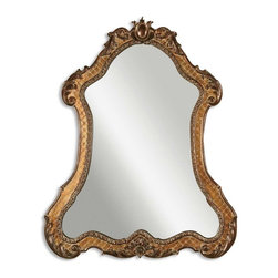 Uttermost - Cleopatra Antique Gold Mirror - Named appropriately after the Queen of the Nile, this mirror is wickedly gorgeous. The frame is made of hand-forged, hand-hammered metal finished in an antique wash giving it depth and character. The mirror itself is glazed to add age and interest.