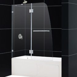 DreamLine - DreamLine SHDR-3348588-01 AquaLux 48in Frameless Hinged Tub Door, Clear 5/16in G - The AquaLux tub door delivers European styling with a gracefully curved silhouette for a uniquely modern look. The perfect combination of impressive 5/16 in. thick tempered glass and a flowing frameless design delivers the look of custom glass at a superior value. Make a splash with the striking yet elegant profile of the AquaLux tub door. 48 in. W x 58 in. H ,  5/16 (8 mm) clear tempered glass,  Chrome or Brushed Nickel hardware finish,  Frameless glass design,  Out-of-plumb installation adjustability: No,  Hinged door and stationary side glass panel,  Self-closing solid brass hinges,  wall mount brackets and support bar for stationary glass,  Convenient towel bar on the outside panel,  Precise width measurement of finished opening required,  Stationary panel: 23 7/8 in., Aluminum