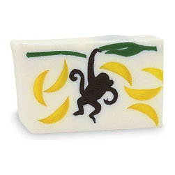 Primal Elements - Monkey Business 6.0 oz Bar Soap in Shrinkwrap - Go bananas with this tropical treat. Sight, smell, shape and feel have become the trademark of Primal Elements soaps. The colors and shapes coordinate with unique scents for a beautifully fragrant presentation; all soaps contain vegetable glycerin, which moisturizes the skin with a luxurious lather that rinses cleanly away. We use pure essential oils and popular fragrance oils for optimum fragrance.