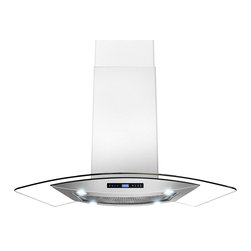 "AKDY - AKDY AK-Z688I/CS14 Euro Stainless Steel Island Mount Range Hood, 30"" - AKDY's 688iCS14 island range hoods are designed in Spain with quality construction and stunning style. This 30"" wide range hood with a 870 CFM blower. Constructed entirely from stainless steel, it features an adjustable chimney and aluminum grease filters with a wide filtration area. The 3-speed fan is operated with an intuitive digital controls. Four 2W LED light bulbs are pre-installed, offering an elegant illumination of your cooktop or range. The 688iCS14 is designed for ducted use, but may be converted to a ductless (recirculating) range hood when you order an optional charcoal filter set."