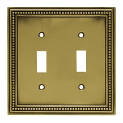 Liberty Hardware - Liberty Hardware 64771 Beaded WP Collection 4.96 Inch Switch Plate - Tumbled Ant - The Beaded design adds elegance and sophistication to every room. The antique brass finish brings distinguished style and grace to any room. Quality zinc die cast base material. Available in the 10 most popular wall plate configurations.. Width - 4.96 Inch,Height - 5 Inch,Projection - 0.3 Inch,Finish - Tumbled Antique Brass,Weight - 0.54 Lbs