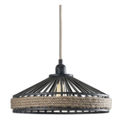 Corda 1 Light Rustic Pendant - *Natural Rope Accents This Rustic Pendant With Its Finish Of Textured Black And Rust Wash
