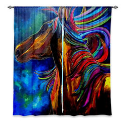 """DiaNoche Designs - Window Curtains Lined by Patti Schermerhorn The Mane - DiaNoche Designs works with artists from around the world to print their stunning works to many unique home decor items.  Purchasing window curtains just got easier and better! Create a designer look to any of your living spaces with our decorative and unique """"Lined Window Curtains."""" Perfect for the living room, dining room or bedroom, these artistic curtains are an easy and inexpensive way to add color and style when decorating your home.  This is a woven poly material that filters outside light and creates a privacy barrier.  Each package includes two easy-to-hang, 3 inch diameter pole-pocket curtain panels.  The width listed is the total measurement of the two panels.  Curtain rod sold separately. Easy care, machine wash cold, tumble dry low, iron low if needed.  Printed in the USA."""