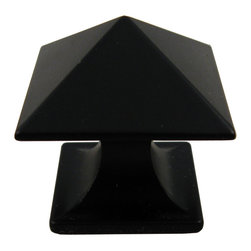 """Stone Harbor Hardware - Livingstone Cabinet Knob, Flat Black - With its crisp, geometric lines, the Livingstone knob is reminiscent of the Art Deco era. The knob is named for the William Livingstone Memorial Lighthouse in Michigan and is available in satin nickel and flat black. The square knob measures 1-1/4"""" across and has a 1-1/4"""" projection. Includes 1"""" screws."""