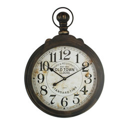 YOSEMITE HOME DECOR - MDF wall Clock with Iron Ring and Glass Lens - This iron framed wall clock features a weathered clear glass lens which proves a sprightly addition to any home d�cor. Displaying attention to detail this wall clock boasts a distressed look that adds a refinement and sophistication to d�cor. This wall clock is versatile and could easily move from the bedroom to the living room to the office.