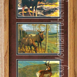 Rocky Mountain Publishing - Mossy Bog, Greg Beecham Wildlife Art Framed Set 10x20 - This  combination  of  wildlife  art  and  landscapes  conveys  the  majesty  of  the  moment.  Mossy  Bog  Triple  shows  majestic  wildlife  including  the  moose  and  the  deer  in  various  outdoor  locations.  In  addition,  the  lighting  of  these  images  are  fantastic  examples  of  how  light  can  help  to  create  a  moment.  Looking  upon  these  images  you  can  quickly  imagine  that  you  are  watching  an  early  morning  sunrise  over  the  mountains.  For  the  wildlife  art  enthusiast  this  is  a  great  combination  of  individual  pieces.                  Dimensions:  Glass  and  Matting  measure  10x20  inches;  Exterior  Frame  dimensions  approximately  16x26  inches              Handsomely  matted  and  framed              Hardware  for  hanging  is  pre-installed              Treated  with  a  protective  coat  of  acid-free  sealant              Artist:  Greg  Beecham;  Allow  2  weeks  for  shipping