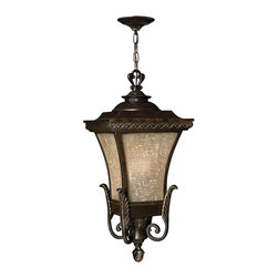 Hinkley Lighting - Brynmar Hanger Outdoor - Detail and high drama are evident in this classic cast aluminum design. Give your home a reason to shine with the decorative leaf and crosshatch detailing in a bronze finish. The stylish, amber linen glass will cast a warm glow on all those who approach.