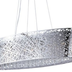 "ET2 Lighting - Inca Oval Suspension by ET2 Lighting - Legendary Incan treasure has finally been discovered in the ET2 Inca Oval Suspension. Inspired by the Incan tears of the sun, it features a chromed steel shade, precisely laser cut into a delicate web to reveal the wealth within: numerous strands of crystals sparkling warmly with the golden light of the nine Xenon bulbs.ET2, headquartered in California, offers a range of contemporary lighting fixtures and chandeliers that utilize crisp and clean glass styles and bright metal finishes to enhance modern and contemporary interiors. ET2 is a division of the Maxim Lighting Group.The ET2 Inca Oval Suspension is available with the following:Details:Laser-cut steel web shadeInner crystal accentsMetal framePolished Chrome finishOval ceiling canopyAdjustable suspension cables120"" wireUL ListedLighting:Nine 40 Watt 120 Volt Type G9 Xenon lamps (included).Shipping:This item usually ships within 3-5 business days."