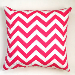 Premier Prints Candy Pink Chevron Pillow Cover by Modernality 2 - How about a bold pink pillow for your girly-girl?