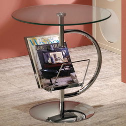 Coaster - Accent Table, Chrome - This modern accent table features a glass table top, convenient magazine rack and a stunning chrome finish.