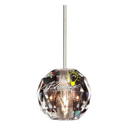 Polaris Quick Connect Pendant Light - Globe shaped optical crystal pendant. The crystal facets create patterns and lighting effects. Polaris provides ambient and decorative illumination. The crystal will also provide a sparkling decorative element when the light is off.
