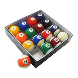 Hathaway Pool Table Regulation Billiard Ball Set - The balls you play with are as important as the table you play on! Improve your game with the professional quality Hathaway Pool Table Regulation Billiard Ball Set. This collection includes 16 precision-engineered true roll billiard balls crafted from blended poly-resin. Each ball is perfectly colored, weighted, and rounded for the best appearance and surest roll you've ever seen. Arrives in a box measuring 10.5L x 10.5W x 2.5H inches.