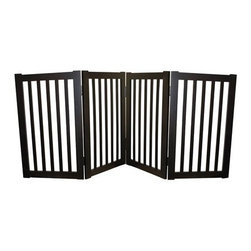 Welland - Welland 4-Panels Extra Tall Wood Panels Folding Pet Gate, 72-Inch , Espresso - This Folding Pet Gate has a folding design that makes it simple to set up and store. The panels of the Folding Pet Gate fold to allow a range in length that accommodates a wide variety of doorways and openings. The elegant pine wood used for this product looks great in any room. The height of this pet gate is low enough to step over for ease of movement from room to room!