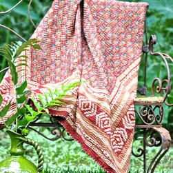 Bali Batik Quilt Henna Tablecloth - Textured by the traditional Indian running stitch, the Bali Batik Quilt in Henna makes a colorful and luxurious patio throw, a rich sofa drapery, or even a tablecloth.� With a low�loft and a vivid pattern in a range of assertive warm earth tones, this beautiful quilt brings international flair to transitional decor, incorporating a fresh, mood-setting fabric finish into your rooms and spaces.