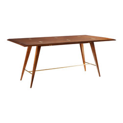 """Brownstone - Brownstone Madison Flip Up Table - Sleek style makes a bold and functional statement on the Brownstone Madison flip table. Retro legs go glam with a golden stretcher, while it's rectangular top folds in half to fit small spaces. 36""""W x 75""""D x 31""""H; Solid American walnut; Brass stretcher; Solid brass hinges on surface"""