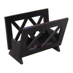 Oceanstar Design - Mahogany Solid Wood Magazine Rack - Contemporary Style Mahogany Finish Solid Wood Magazine Rack