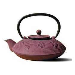 "Tetsubin Teapots - The ""Kamakura"" Tetsubin Teapot with Stand Set includes a Purple 26 Oz. teapot along with a custom designed stand which protects your table from heat and moisture, as well as acting as a display stand when your teapot is not in use.  Features a Black Porcelain Enamel Interior Coating that helps prevent rust. For brewing and serving tea; Not intended for stovetop use."