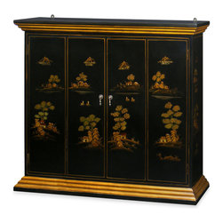 """China Furniture and Arts - Chinoiserie Scenery Motif Wall TV Cabinet - Mountainous peaks and blossoming trees populate the landscapes illustrating the charm and drama of Chinoiserie. Interpretive motifs exquisitely hand painted in gold on hardwood then finished in multiple coats of lacquer. This beautiful cabinet is designed to house your plasma TV on the wall. Double-hinged doors folds to the sides for unobstructed viewing. Mounting wares included. Matte black finish. Interior measurements 46""""W x 9""""D x 36""""H. Fully assembled."""