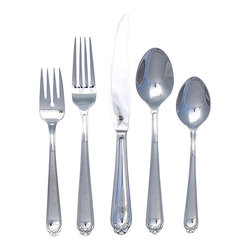 Ginkgo - Bonnie Flatware Set, Mirror Finish, 45 Pieces - Choose Quantity: 45-Pieces. Features a ribbon-tipped handle. Classic shaped fork tines and spoon bowls. Heavy weight. Material: 18/0 . Stainless steel. High polish finishThe ribbon-tie tip, coupled with classically shaped tines and bowls makes for a traditional, full-sized everyday pattern. The salad fork design ideally suits for dessert, as does the teaspoon. High polished finish throughout.