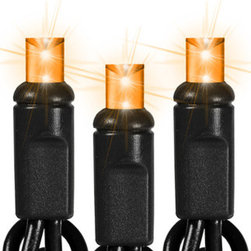 50 Light - LED - 17 ft. String - Amber - Black Wire - Wide Angle - Make your lighting display striking with black sockets, black wire and orange frost LED wide angle mini Christmas lights. The 50 bulbs are spaced 6 inches apart on 25 feet of wire making them ideal to decorate Christmas trees, interior trim, and fence lines. These LED bulbs are cool to the touch and use 10 times less energy than incandescent lights. UL listed for indoor/outdoor use, 60 sets can be safely combined end-to-end. The wide angle lights stay bright no matter where they are pointed, so be confident your lighting will stay true to its design.