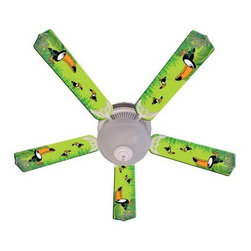 Ceiling Fan Designers Kids Toucan Clan Indoor Ceiling Fan - Colorful toucans make the Ceiling Fan Designers Kids Toucan Clan Indoor Ceiling Fan a silly and fun addition to your nursery. This ceiling fan and light kit combo has illustrated toucans in a jungle theme and comes in your choice of size: 42-inch with 4 blades or 52-inch with 5. The blades are reversible so you get the colorful design on one side and white on the other. It has a powerful yet quiet 120-volt, 3-speed motor with easy switch for year-round comfort. The 42-inch fan includes a schoolhouse-style white glass shade and requires one 60-watt candelabra bulb (not included). The 52-inch fan has three alabaster glass shades and requires three 60-watt candelabra bulbs (included). Your ceiling fan includes a 15- to 30-year manufacturer's warranty (based on size).