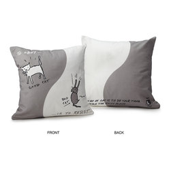 Inova Team -Modern Cotton Exclusive Pillows, Good Cat/Bad Cat - If you've ever tried to train a cat, you know that it's not exactly the path to harmony. Instead of resisting nature (your cat seems to say), you really should just go with the flow. Is there any pet that better embodies the essence of the Tao?