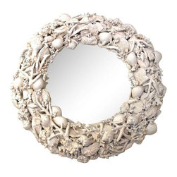 Made Goods - Pre-owned Made Goods Resin Shell Mirror - Come out of your shell with this Made Goods cast resin shell and coral round mirror because it is shore to please your every design desire! We sea this piece looking lovely above the sink in a bathroom, or any beach-y room.