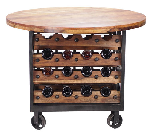 Brunello Rolling Wine Table - The Brunello is a bold, iron and sustainably harvested mango wood rolling table with wine storage below. It's great for wine tastings or display. Displays 32 bottles and rolls on four large casters.