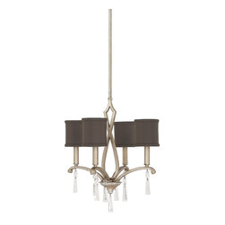 Capital Lighting - Capital Lighting Elan Transitional Crystal Chandelier X-RC-335-SB4604 - This exquisite chandelier features graceful scrolled curves and dangling clear crystal accents with rich brushed silver finish. The dark, decorative fabric shades provide evenly, superior lighting. The Capital Lighting Elan Transitional Crystal chandelier is a fantastic, dazzling look to your stylish home.