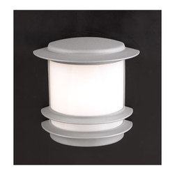 """PLC Lighting - Tusk Outdoor  Wall Sconce - Features: -Outdoor one light wall sconce. -Tusk collection. -Available in black or silver finish. -Die cast aluminum construction. -Acrylic glass shade. -Suitable for wet location. -ADA compliant. Specifications: -Accommodates (1) 60W A19 bulb (not included). -Overall dimensions: 10"""" H x 9.25"""" W x 5.25"""" D."""