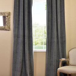Natural Grey Grommet Velvet Blackout Curtain - Our soft plush pile Velvet Curtains & Draped have a natural luster with a depth of color that creates a formal, polished look. Made of high-quality, poly velvet and soft flowing polyester blackout thermal lining. The curtains keep the light out and provides for optimal insulation.