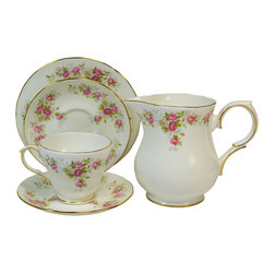 Lavish Shoestring - Consigned 6 Placements Tea Set with Pink Roses by Duchess, Vintage English - This is a vintage one-of-a-kind item.