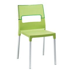 Eurostyle - Diva Chair (Set of 4) - Green/Green/Aluminum - Polypropylene reinforced with fiberglass