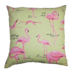"""The Pillow Collection - Qusay Animal Print Pillow Green Pink 18"""" x 18"""" - This accent pillow is a pretty statement piece to add in your living room, bedroom or lounge area. Decorated with animal prints in shades of pink against a green background, this square pillow lends a summery vibe to your interiors. Incorporate other patterns with this 18"""" pillow like florals, ikats and more. Made from a blend of materials: 95% cotton and 5% linen fabric. Hidden zipper closure for easy cover removal.  Knife edge finish on all four sides.  Reversible pillow with the same fabric on the back side.  Spot cleaning suggested."""